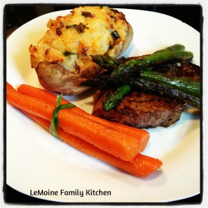 Filet Mignon with Twice Baked Potatoes & Glazed Carrots. Perfect at home date night! Make this restaurant quality meal for the one you love and enjoy dinner and a quite night in.