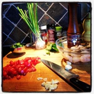 Shrimp with a Fresh Plum Tomato Basil Sauce over Angel Hair   LeMoine Family Kitchen #easydinner #shrimp #seafood #pasta