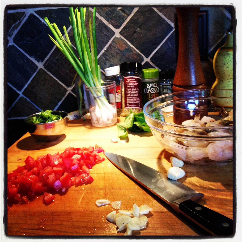Shrimp with a Fresh Plum Tomato Basil Sauce over Angel Hair | LeMoine Family Kitchen #easydinner #shrimp #seafood #pasta