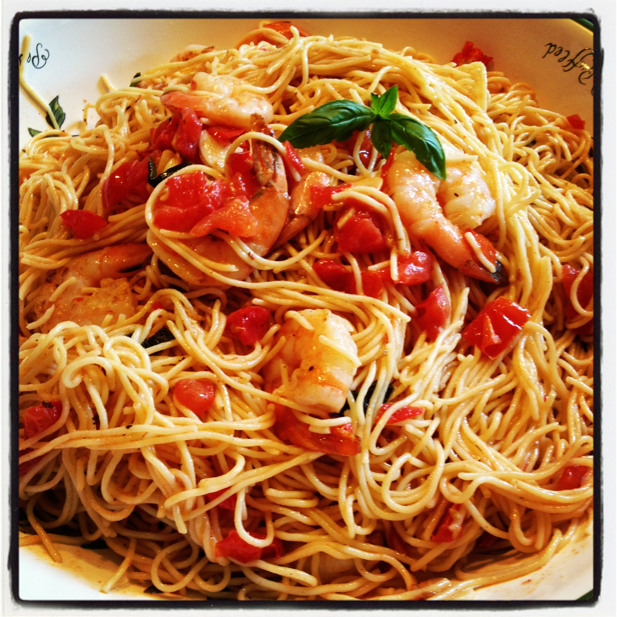 Shrimp with a Fresh Plum Tomato Sauce over Angel Hair Pasta