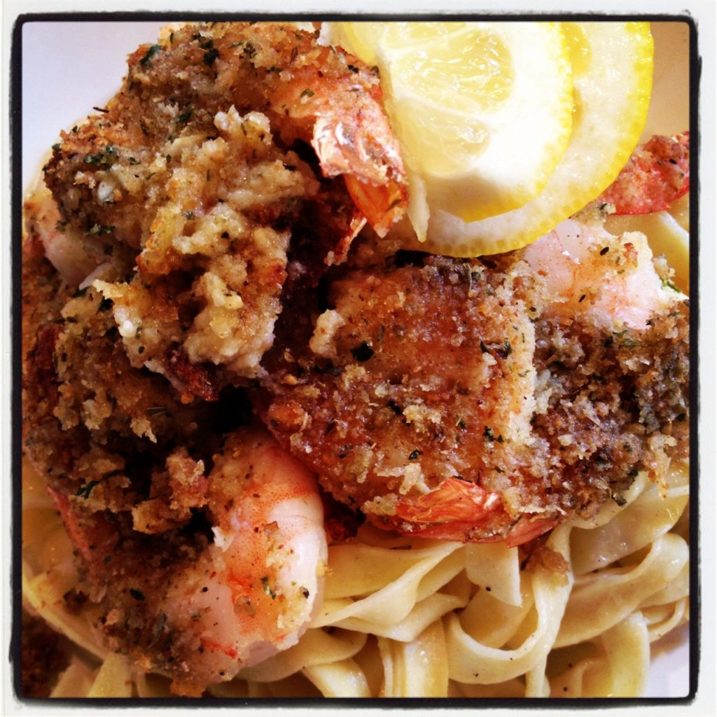 Shrimp Oreganato. Easy and delicious meal! Serve over pasta and dinner is served!