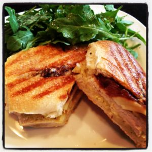 Turkey, Brie & Apple Panini. The flavors in this pressed sandwich are just bursting! Sweet, crunchy, creamy... this is an incredible panini!