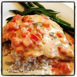 Grilled Chicken with Creamy Lemon, Tomato Basil Sauce
