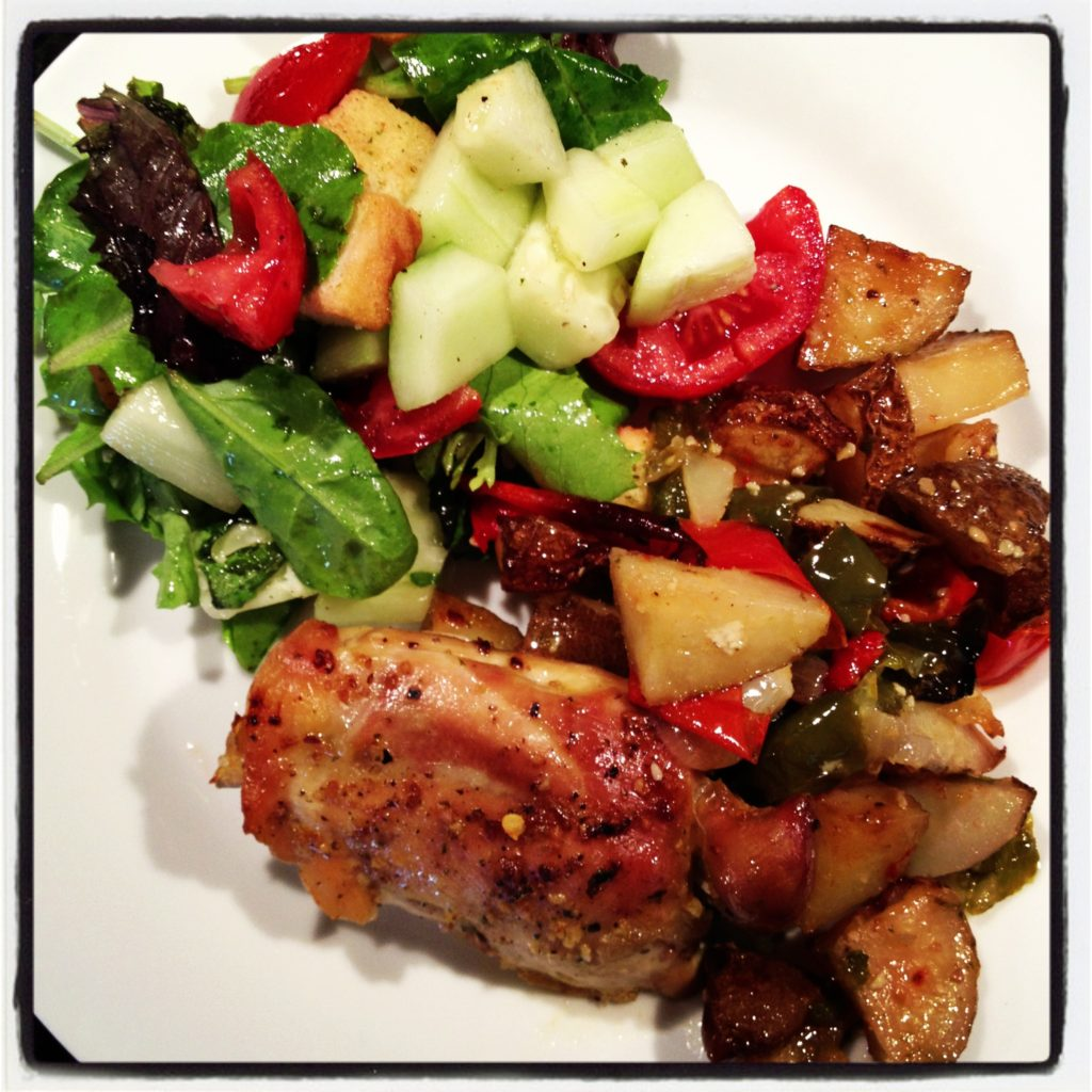 Roasted-Chicken-Thighs-Potatoes-Peppers-Onions