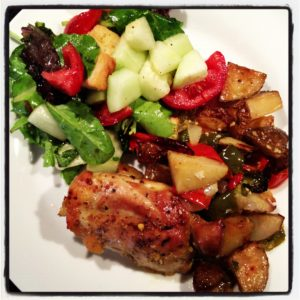 Roasted Chicken Thighs with Potatoes, Peppers and Onions