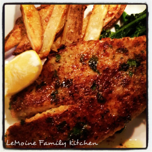 Really a simple but flavorful meal.Easy Tilapia, Broccoli Rabe & Roasted Potato Wedges. The tilapia filet in breaded and cooked until golden and crisp. Just perfect!
