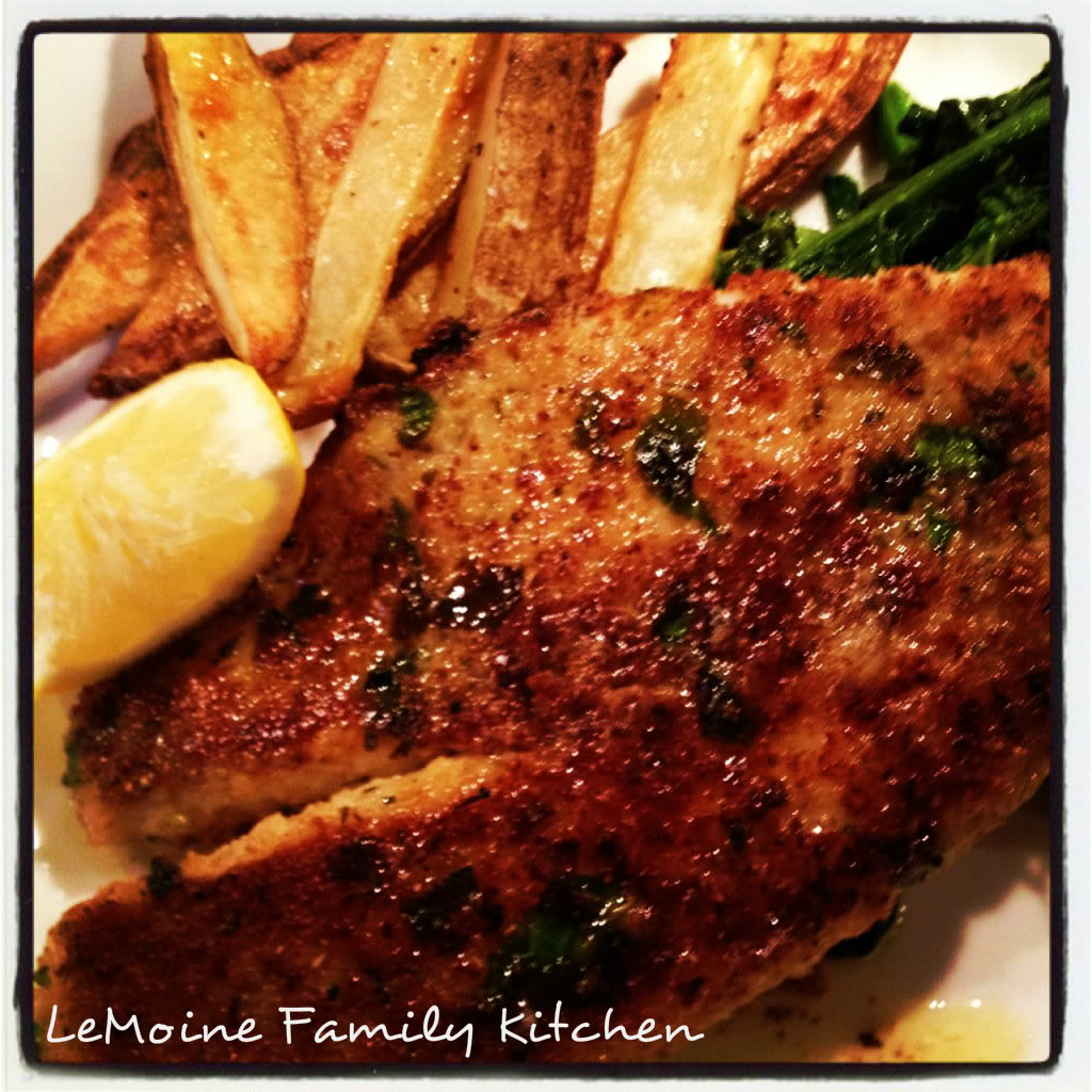 Really a simple but flavorful meal. Easy Tilapia, Broccoli Rabe & Roasted Potato Wedges. The tilapia filet in breaded and cooked until golden and crisp. Just perfect!