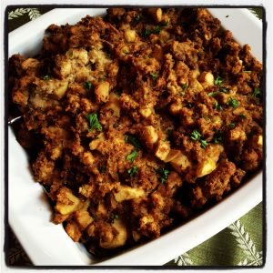 Sausage and Apple Cornbread Stuffing. This is so hearty and flavorful. Whether cooking for Thanksgiving or a weeknight dinner, this is a GREAT side dish.