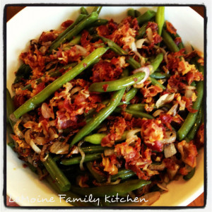 Green Beans with Shallots and Crispy Pancetta | LeMoine Family Kitchen. Flavor packed side dish perfect for any night of the week or the holidays.