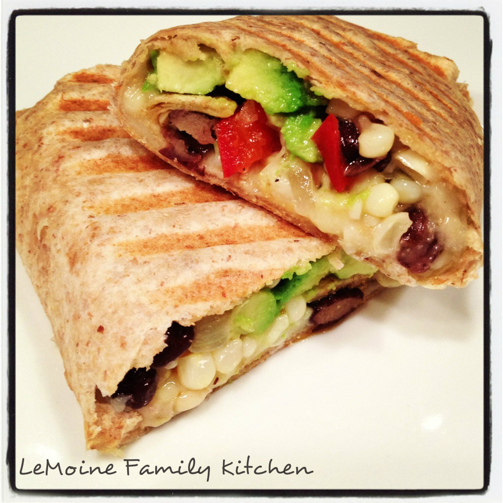 Pressed Bean, Veggie & Cheddar Burrito | LeMoine Family Kitchen. A simple and super delicious vegetarian meal! This is Mexican done healthy.