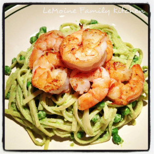 Linguini in a Creamy Pea Sauce and Sautéed Shrimp | LeMoine Family Kitchen. This pasta dish is so easy to make and the flavors are amazing