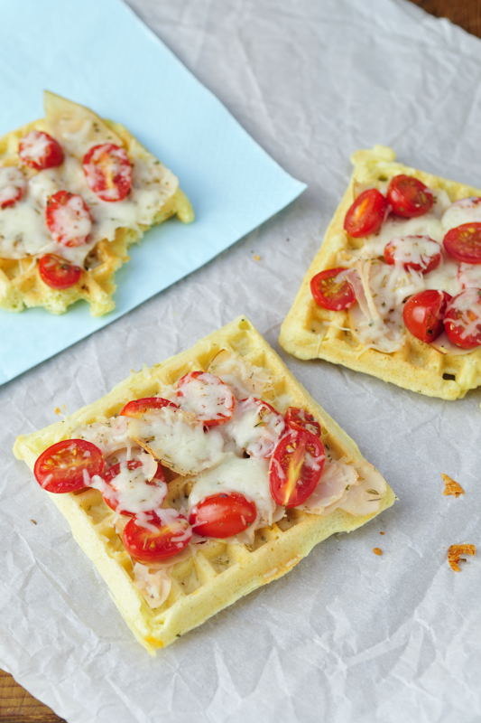 Tomato Ham and Cheese Pizza Waffles