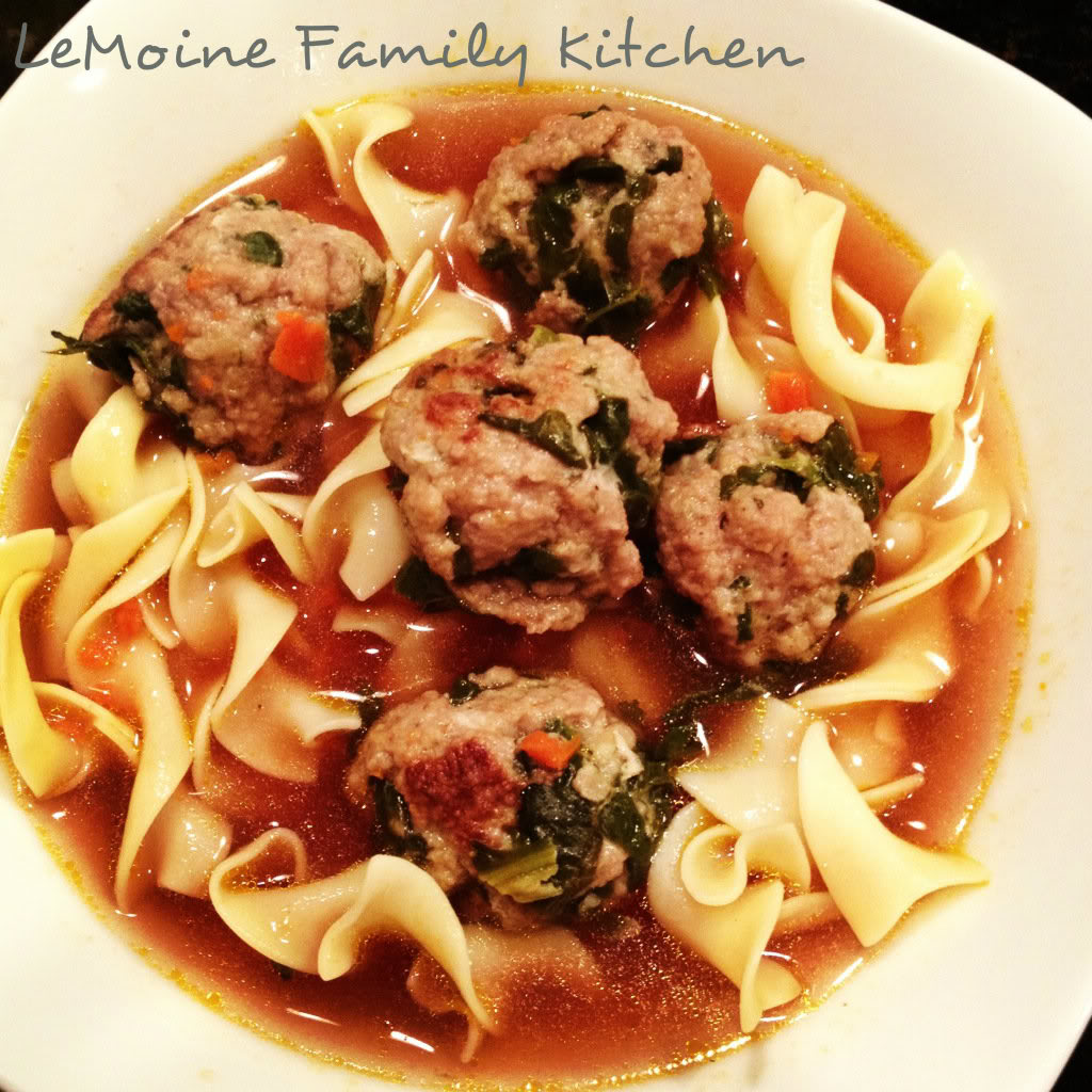 Turkey & Spinach Meatballs in Homemade Broth- a really healthy and hearty meal. The meatballs have great flavor.