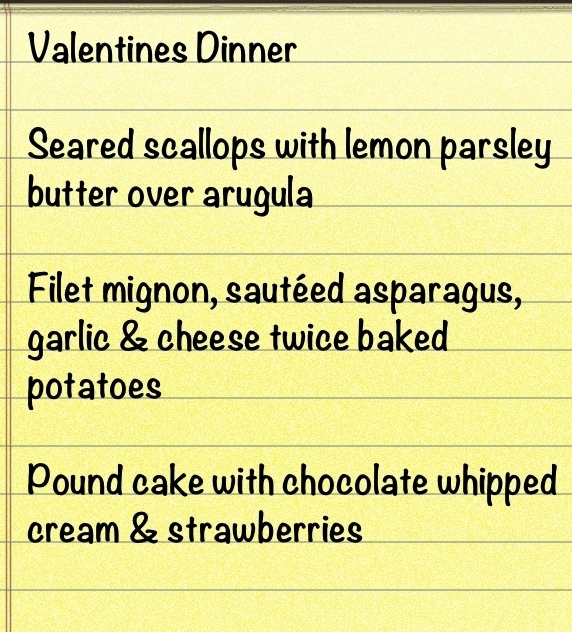 At Home Valentines Day Dinner. Cook a delicious meal from appetizer to dinner to a luscious dessert at home for the one you love!