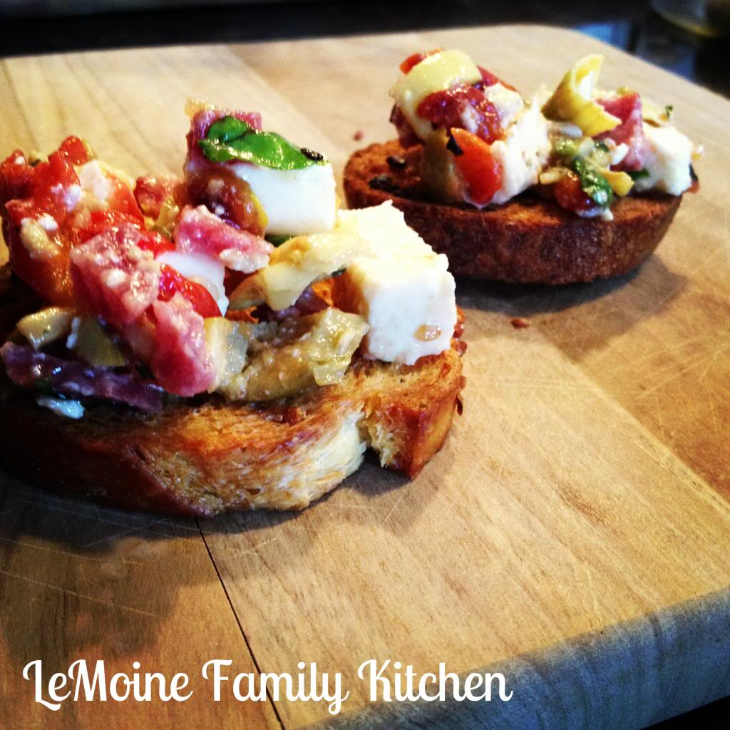 Antipasto Crostini | LeMoine Family Kitchen! The perfect Italian inspired appetizer!