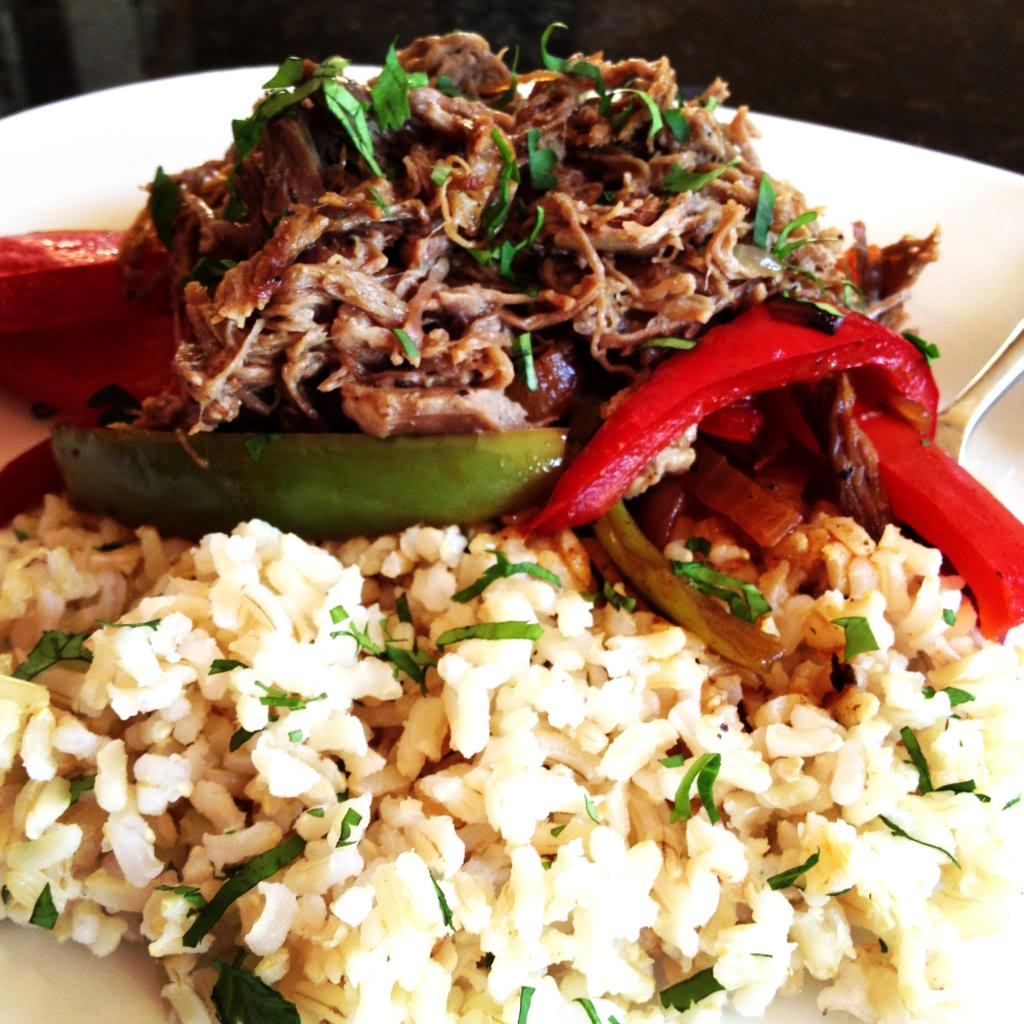 Steak Carnitas & Sautéed Peppers over Cilantro Lime Rice