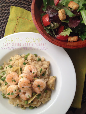Shrimp Scampi Over Spring Veggie Risotto :: Guest Post