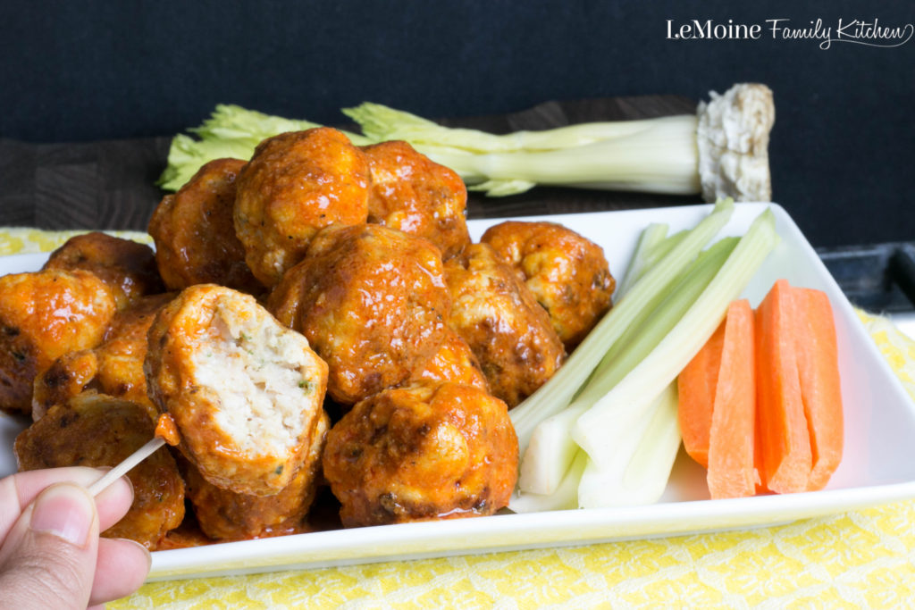 Buffalo Chicken Meatballs. A great appetizer that packs a great kick! So much easier then frying up wings with all the great taste.