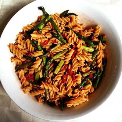 Fusilli with Asparagus & Sun Dried Tomato Pesto
