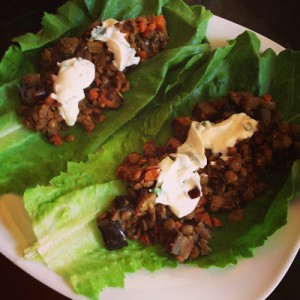 curry lentil and eggplant lettuce taco