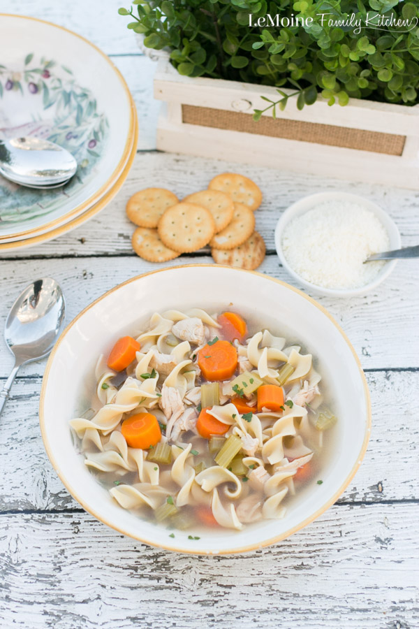 There is something so incredibly comforting about soup, especially Chicken Noodle Soup! There is nothing I want more on a cold day then a blanket and a bowl or two of this soup! The flavors and ingredients are simple but it is a damn good bowl of homemade soup!