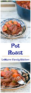 There are certain dishes that just the thought of brings you right back to childhood, Pot Roast is one of those dishes. There was always such a rich and distinct flavor from my moms pot roast. Its a simple, rustic, one pot meal that is perfect on a cold day.