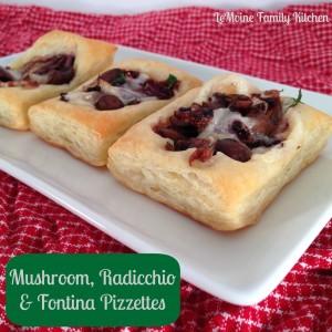 mushroom, radicchio fontina pizzettes