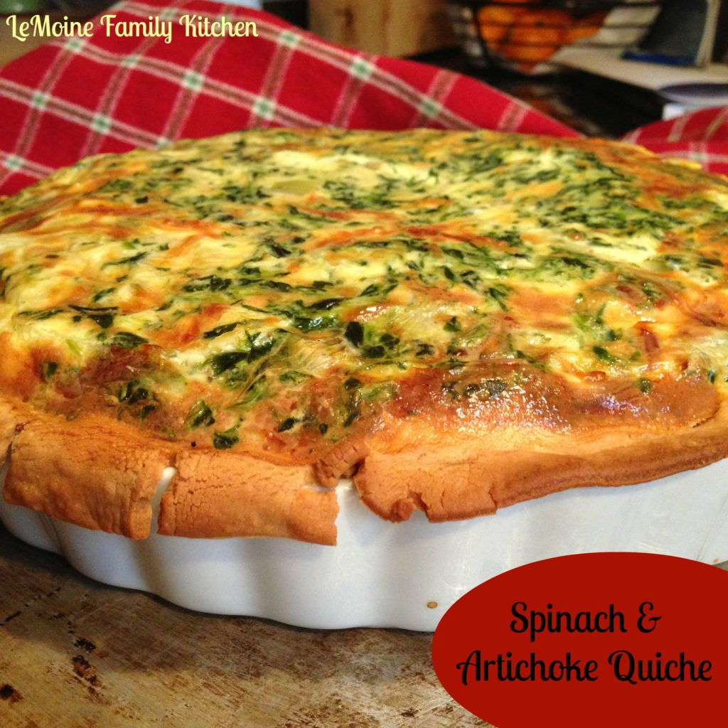 Spinach & Artichoke Quiche. Easy meal for any time of day.