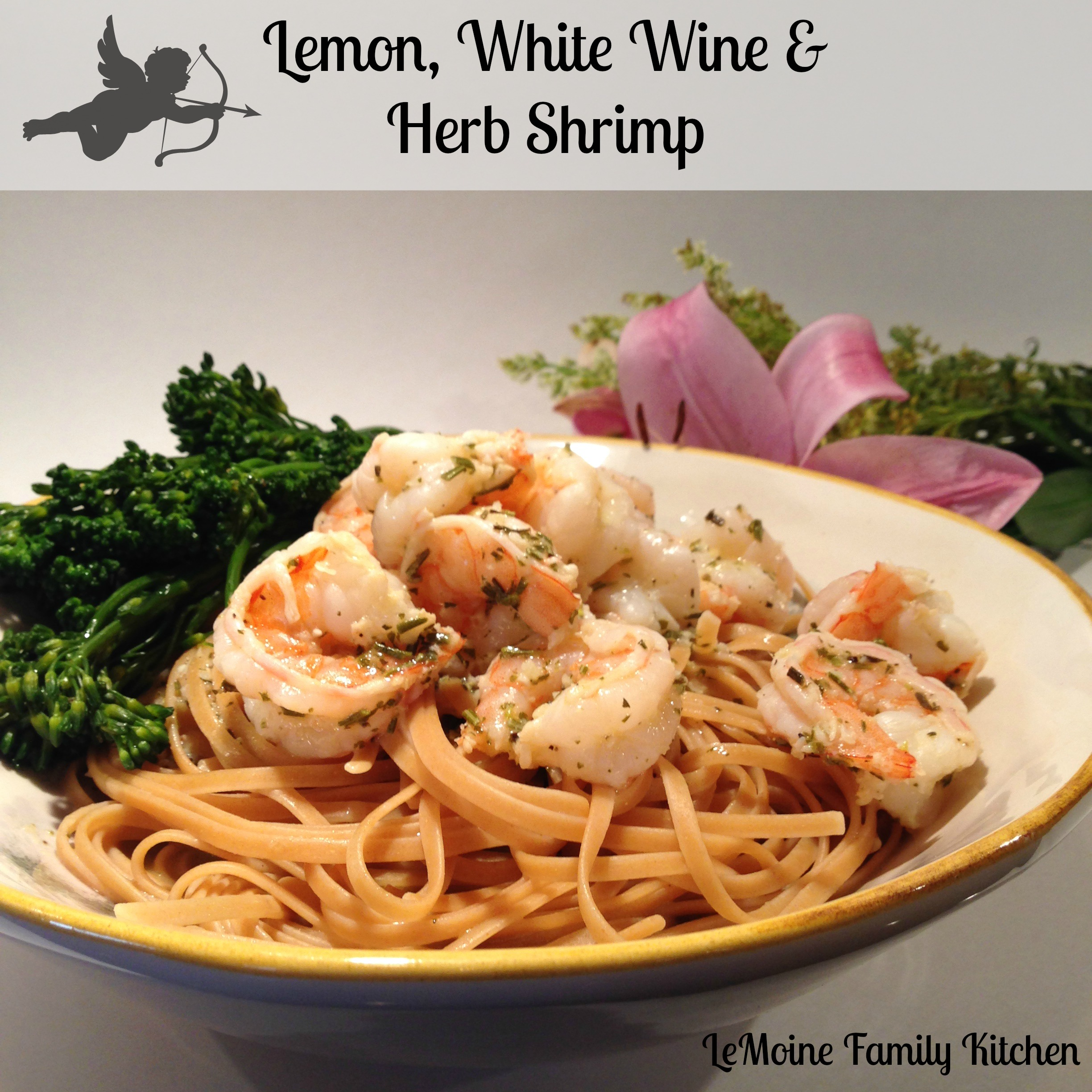 lemon, white wine, herb shrimp