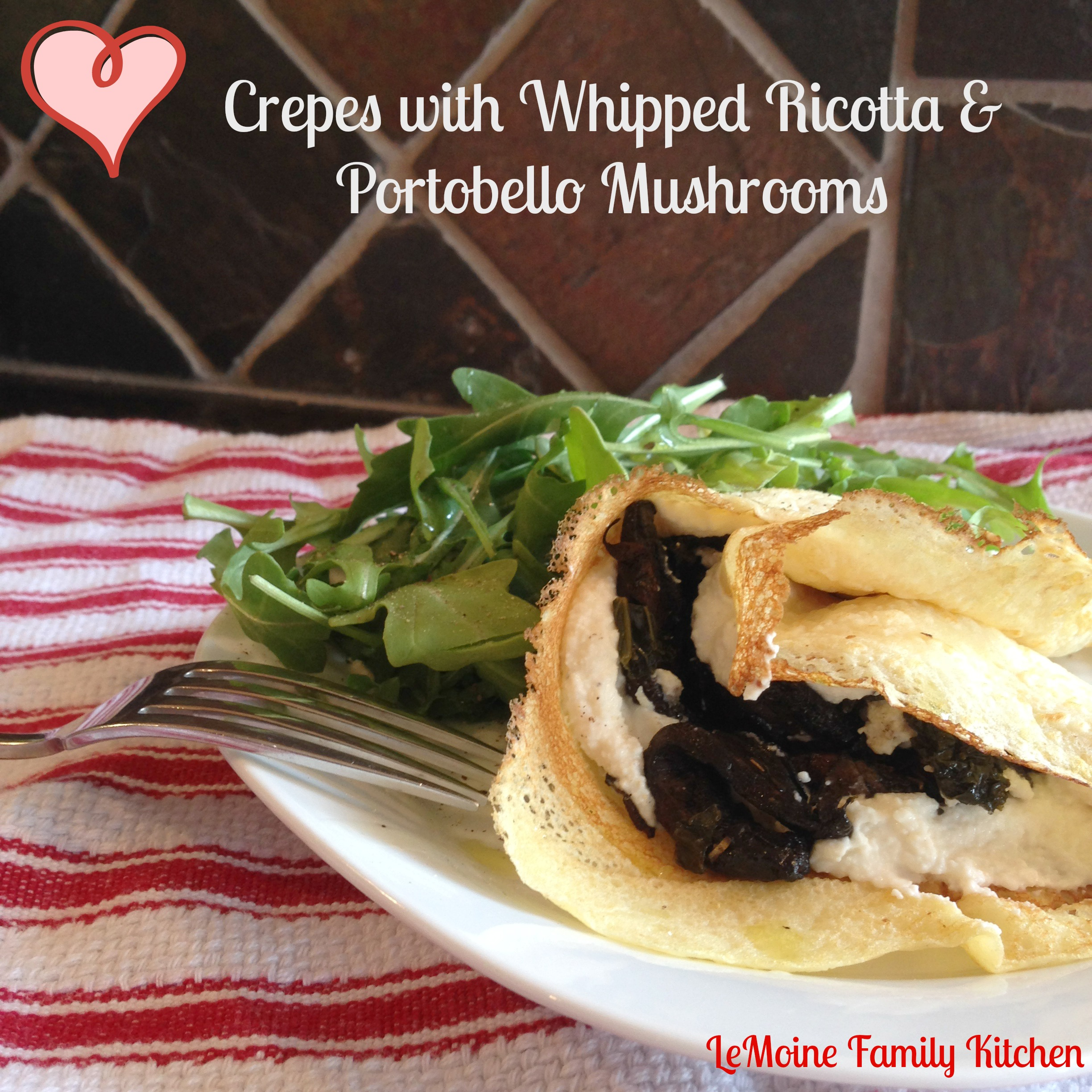 crepes with whipped ricotta and portobello mushrooms