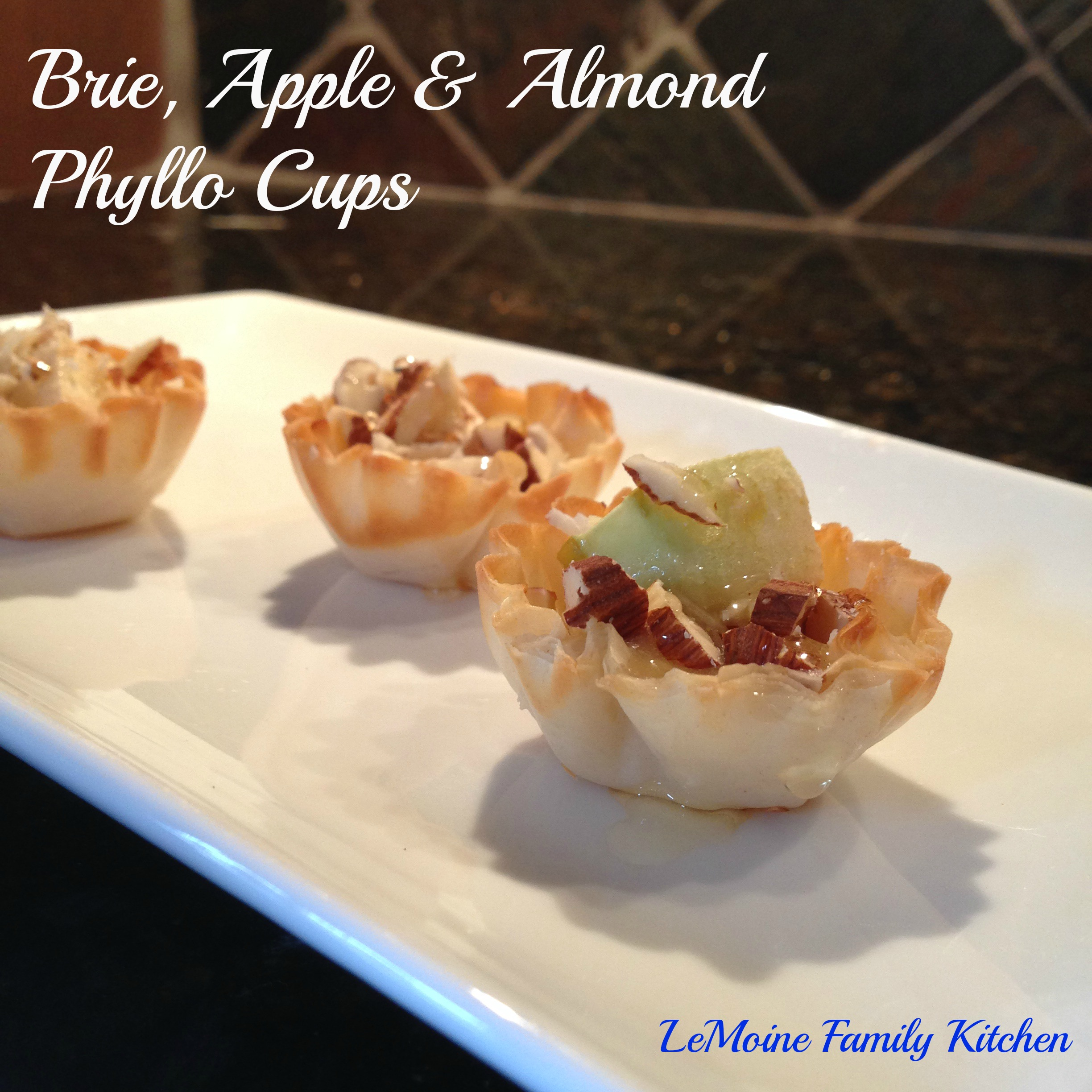 brie, apple, almond phyllo cups