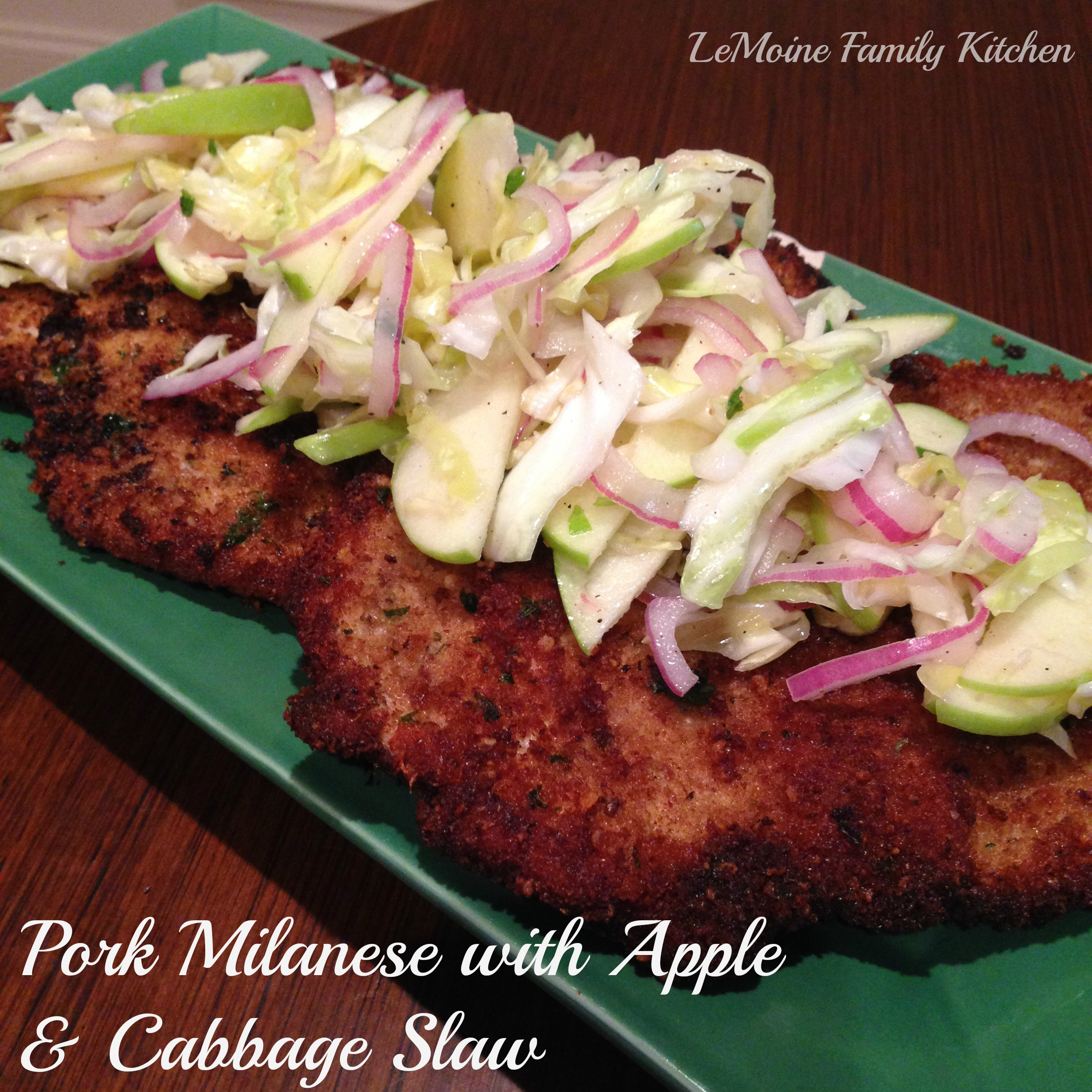 pork milanese apple cabbage slaw