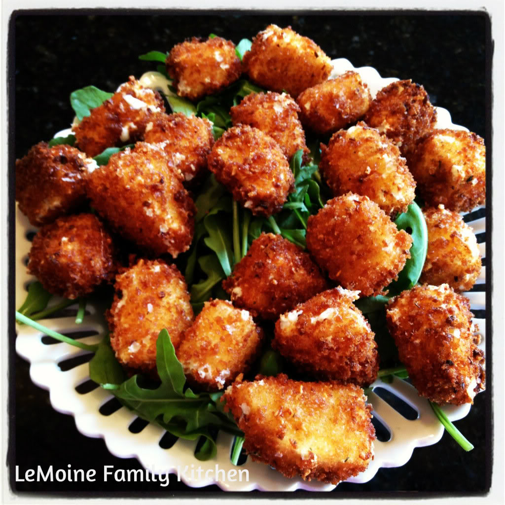 Fried Fresh Mozzarella Bites | LeMoine Family Kitchen . These little crisp bites are perfection and a HUGE hit at parties! A great snack!