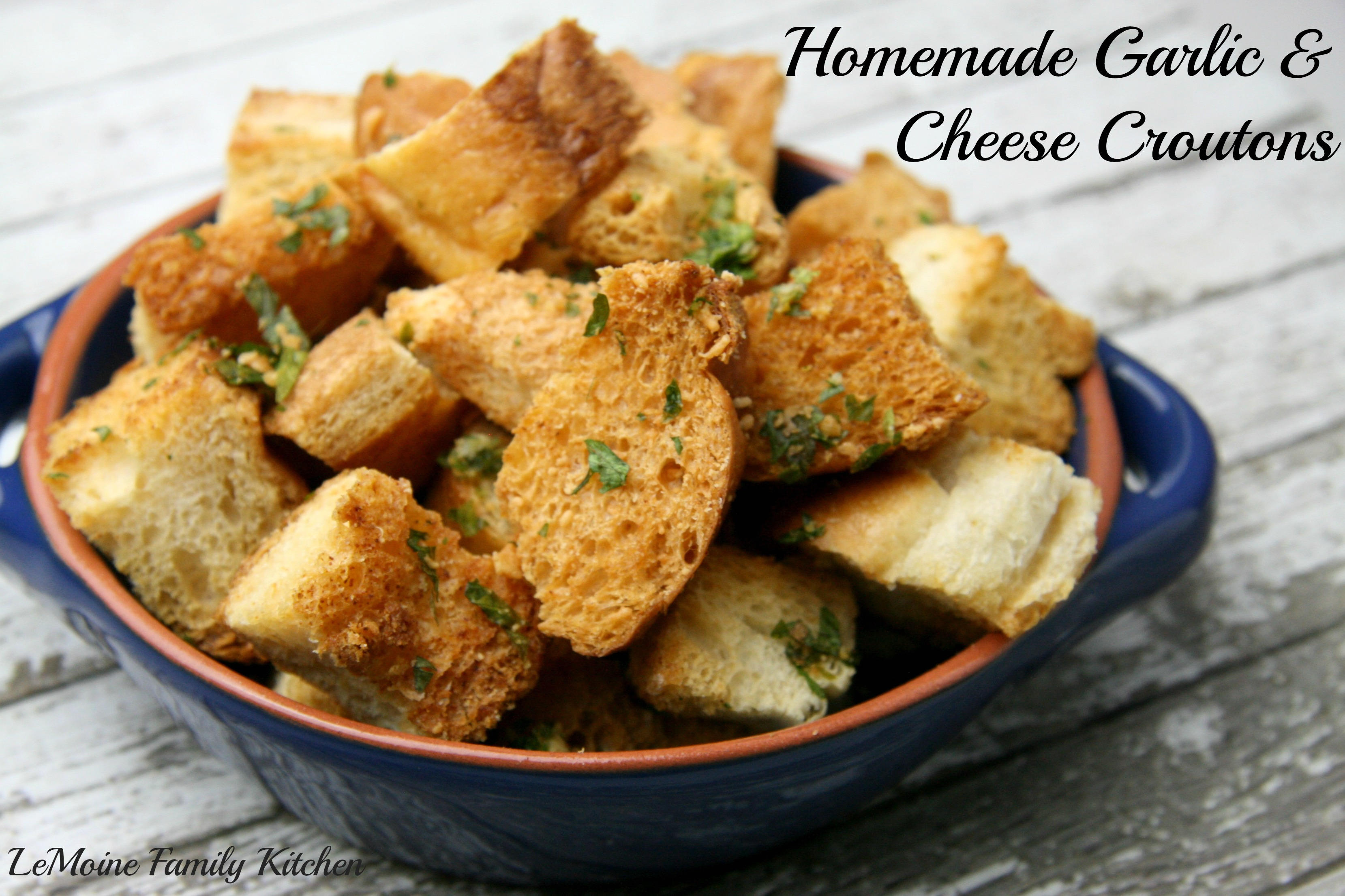 Homemade Garlic & Cheese Croutons | LeMoine Family Kitchen #croutons #leftoverbread #bread #salad #easyrecipe #homemade