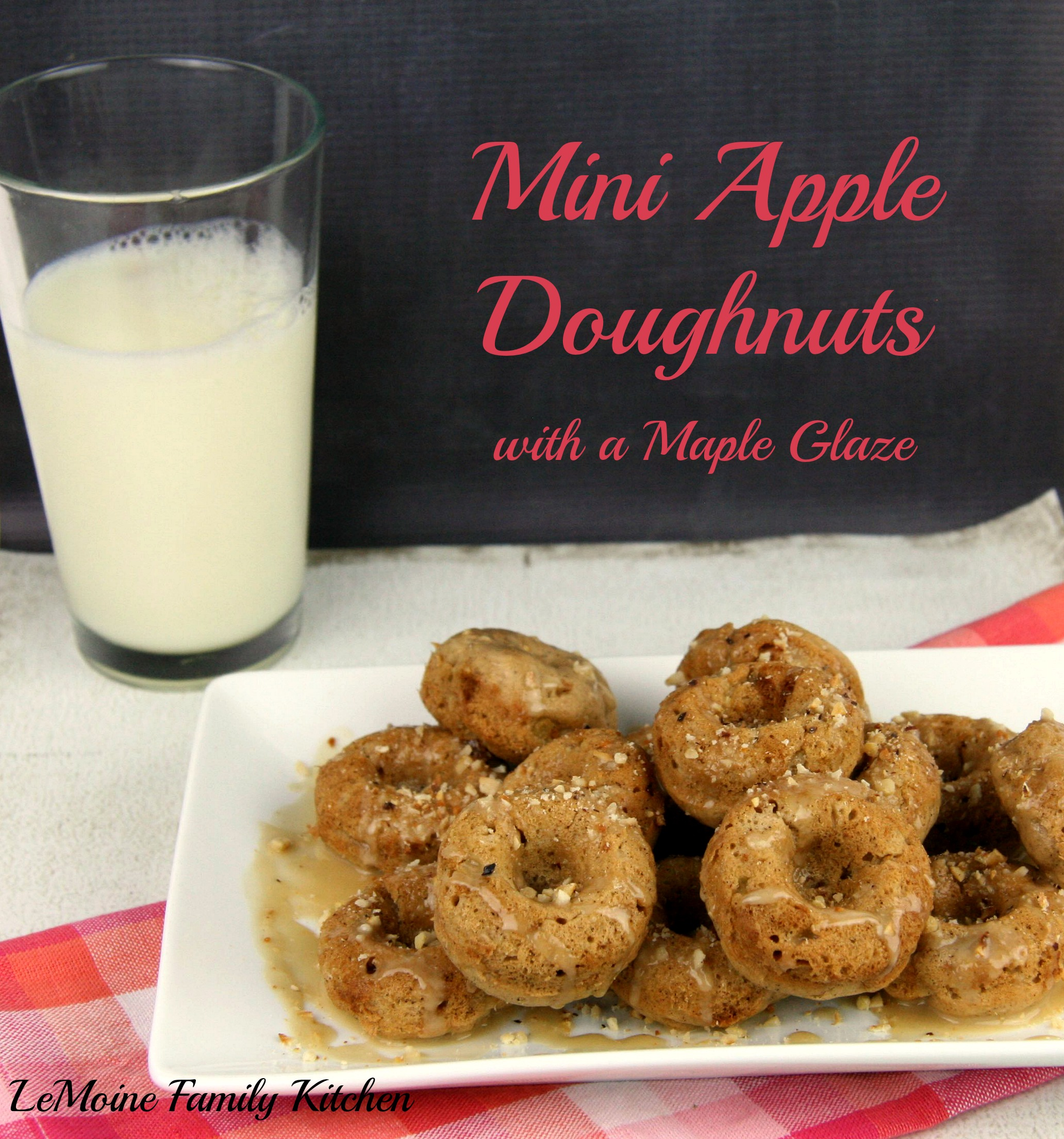 Mini Apple Doughnuts with a Maple Glaze | LeMoine Family Kitchen #apple #recipe #doughnut #donut #maple #appledoughnut #homemadedoughnut