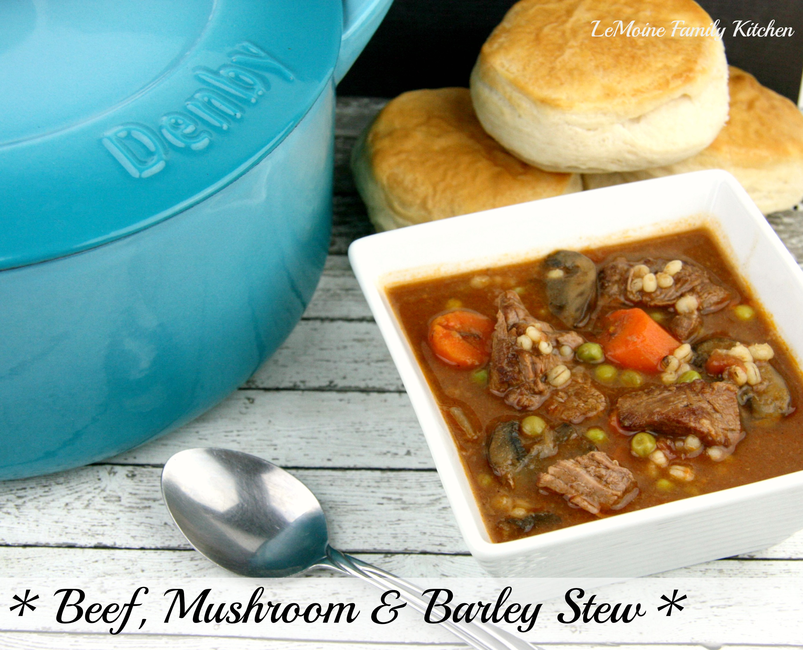 Beef, Mushroom & Barley Stew {Plus my new Denby Cast Iron Casserole Pot} | LeMoine Family Kitchen #stew #beef #beefandbarley #winter #comfortfood #denby