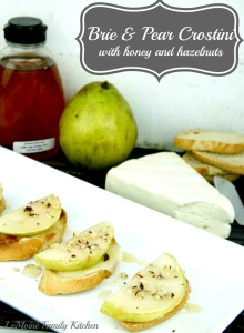 Brie & Pear Crostini with Honey and Hazelnuts | LeMoine Family Kitchen #crostini #easy #brie #horsdoeuvre #appetizer #holiday #partyfood