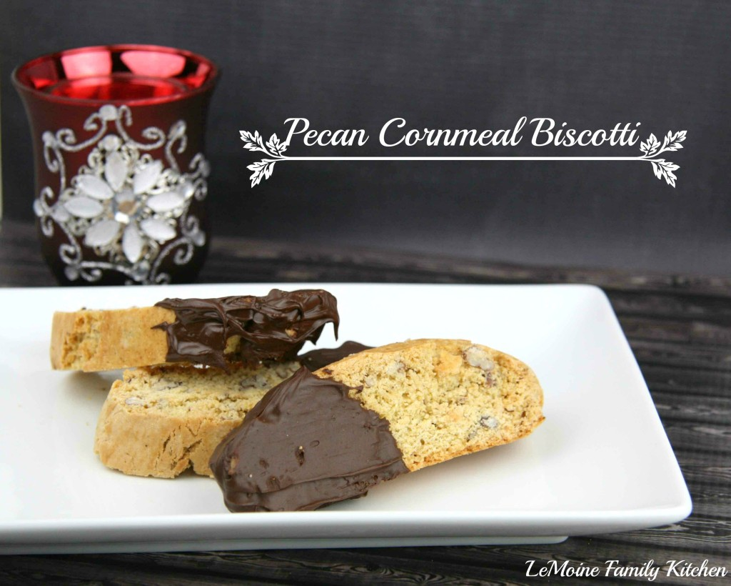 Pecan Cornmeal Biscotti | LeMoine Family Kitchen #cookie #Italian #christmas #holiday #biscotti #baking