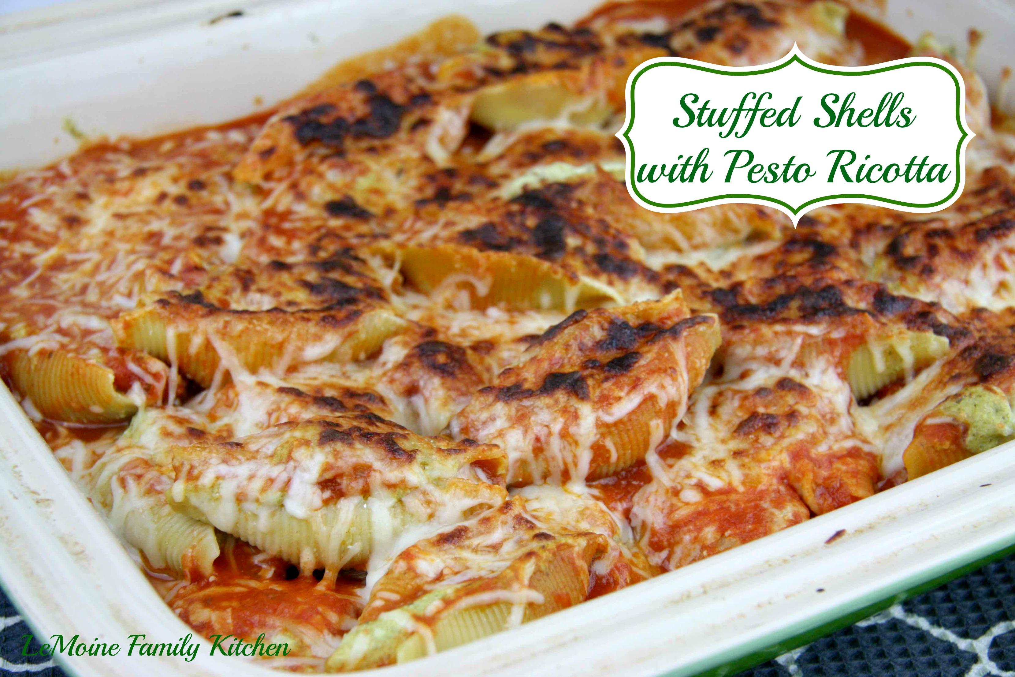 Stuffed Shells with Pesto Ricotta | LeMoine Family Kitchen #pasta #italian #stuffedshells #easydinner