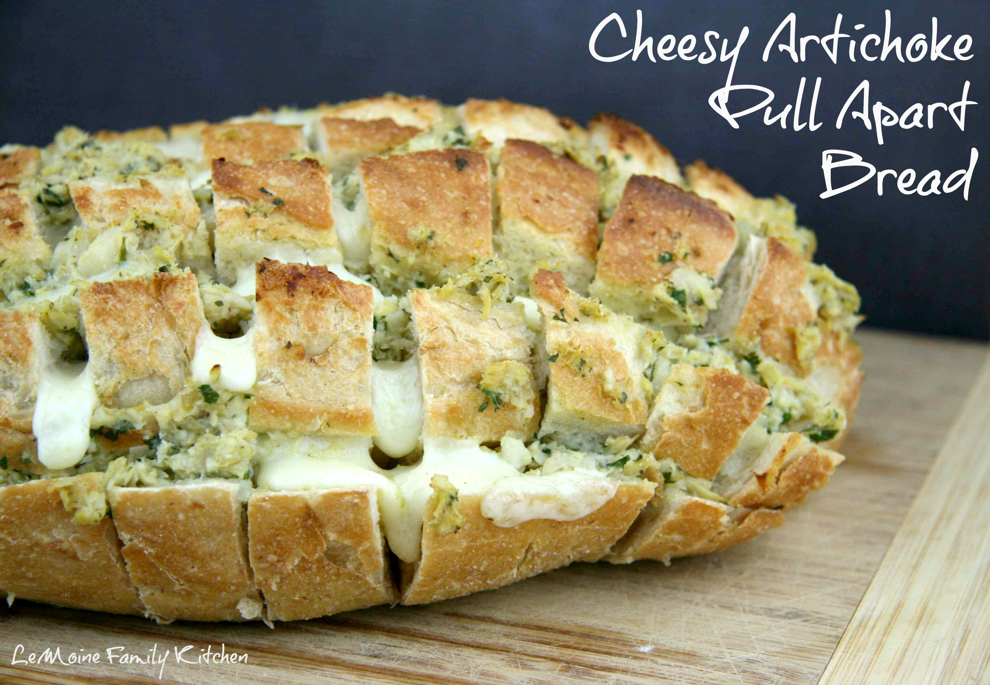 Cheesy Artichoke Pull Apart Bread | LeMoine Family Kitchen #pullapart #fontina #artichokehearts #appetizer