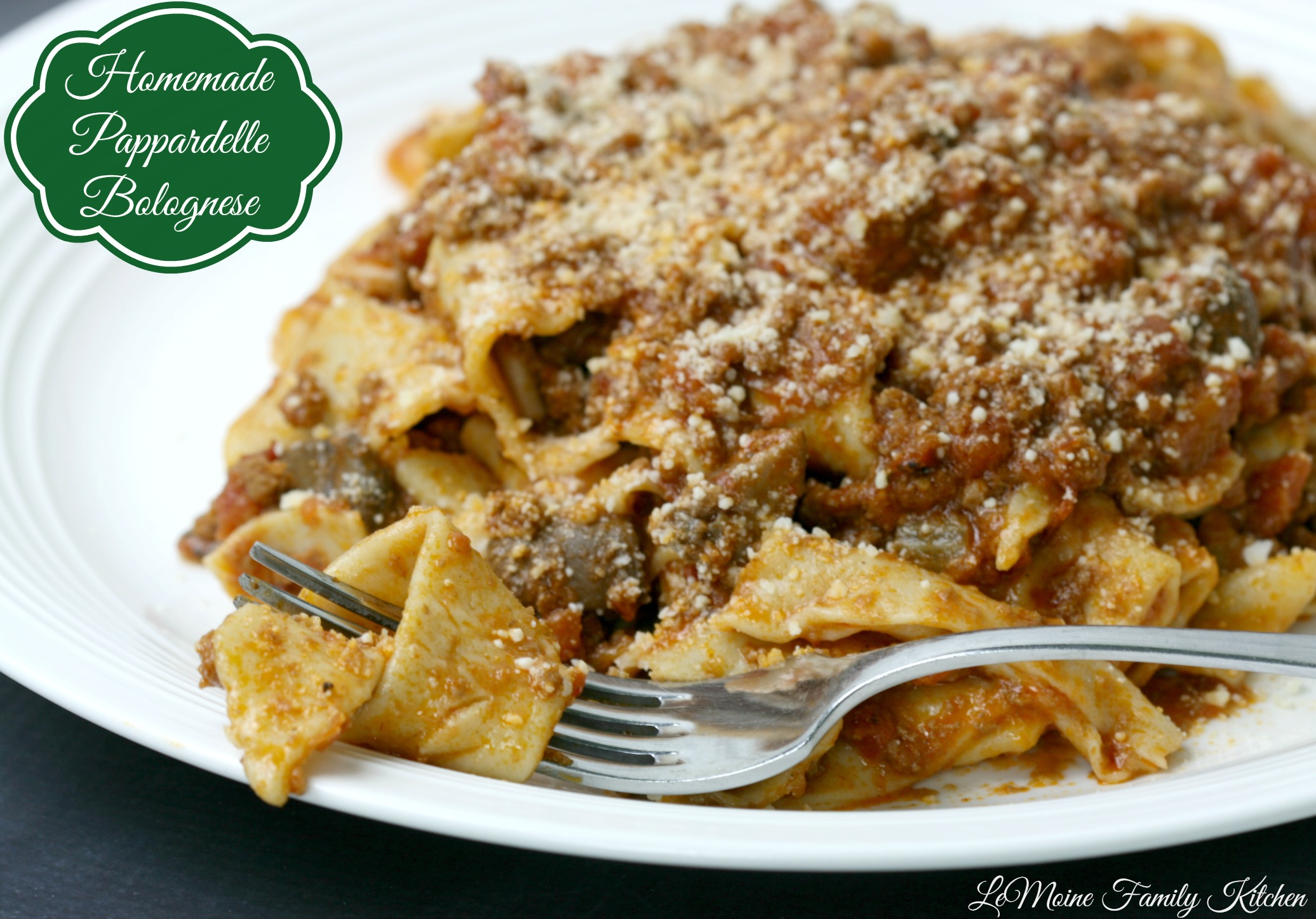 ... homemade pasta topped with the BEST Bolognese Sauce! The sauce is