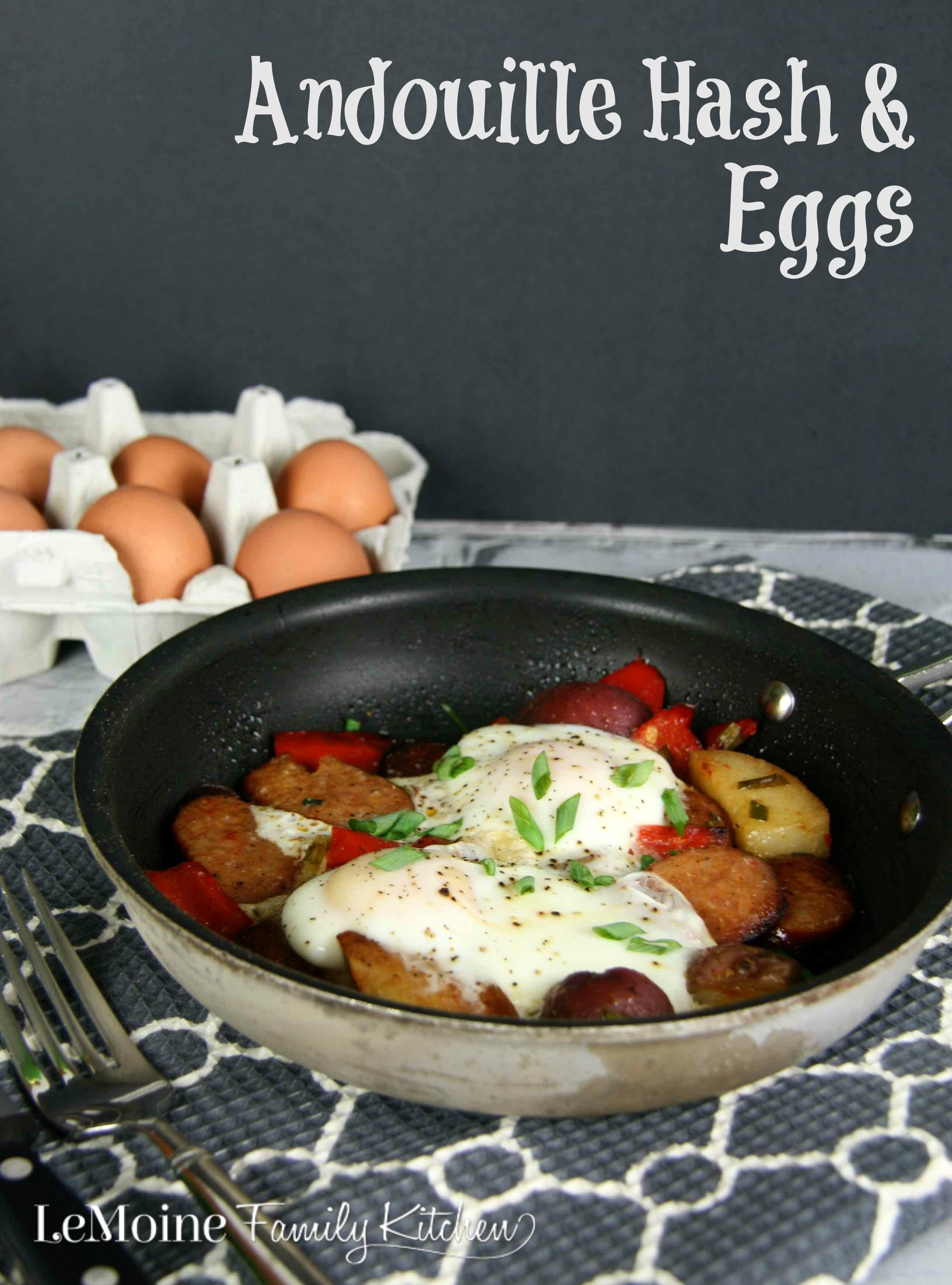 Andouille Hash & Eggs | LeMoine Family Kitchen . Roasted Andouille, Potatoes & Peppers Hash served with eggs. Perfect flavorful breakfast or brunch!
