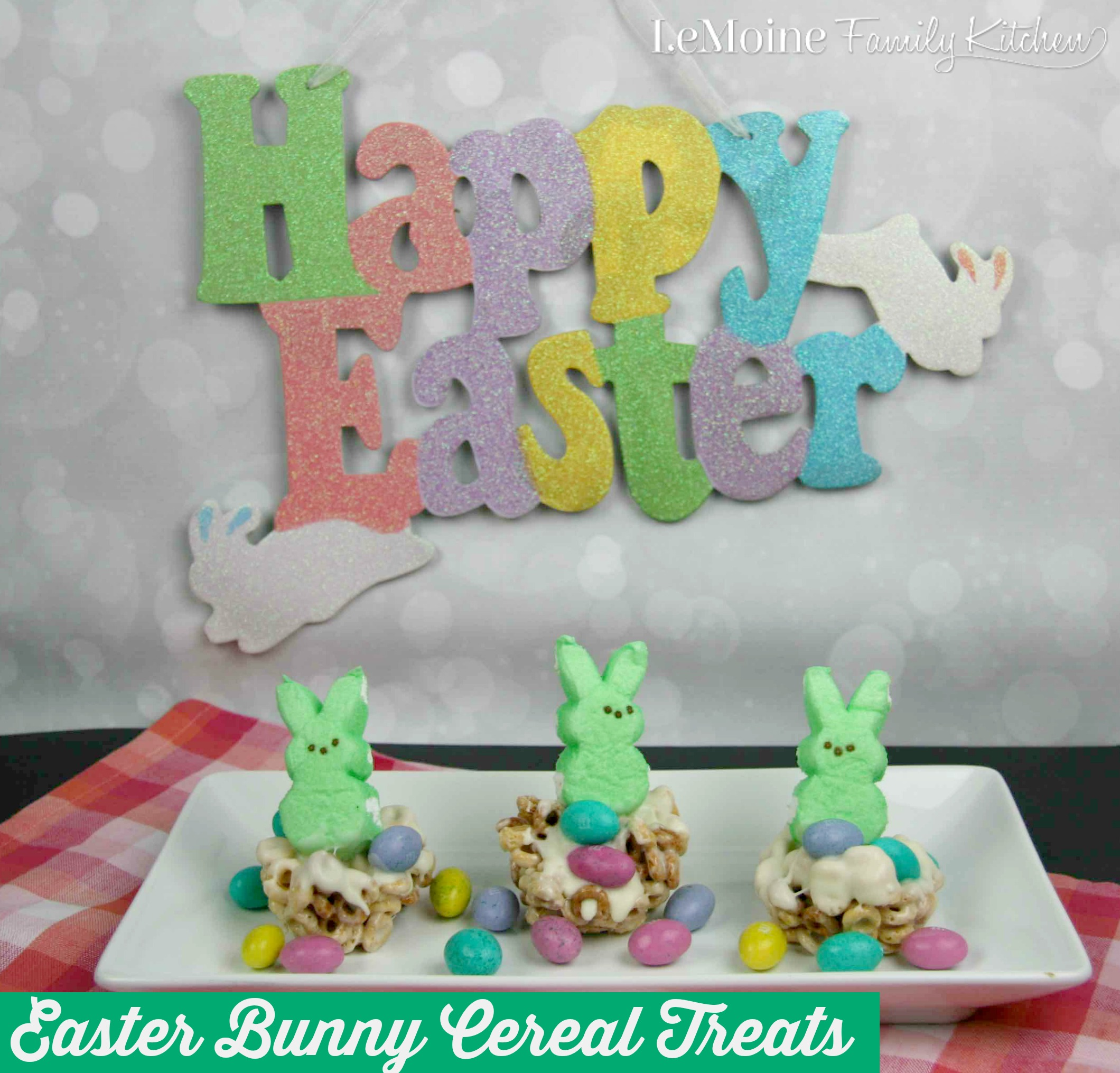 Easter Bunny Cereal Treats | LeMoine Family Kitchen. Perfect easy Easter dessert! Adorable and delicious sweet treat!