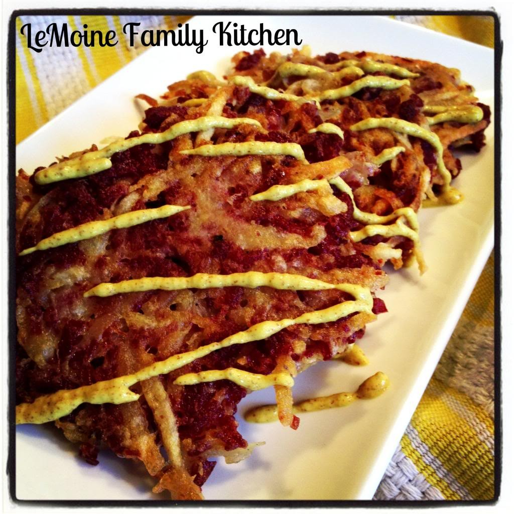 Corned Beef Potato Pancakes | LeMoine Family Kitchen. St Patricks Day leftovers? These are a great way to use up the leftover corned beef and potatoes