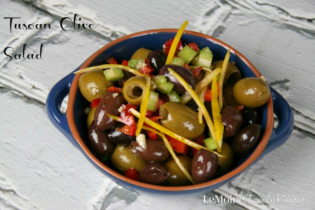 Tuscan Olive Salad | LeMoine Family Kitchen  Your favorite olives mixed with red bell pepper, celery, garlic and meyer lemon zest.