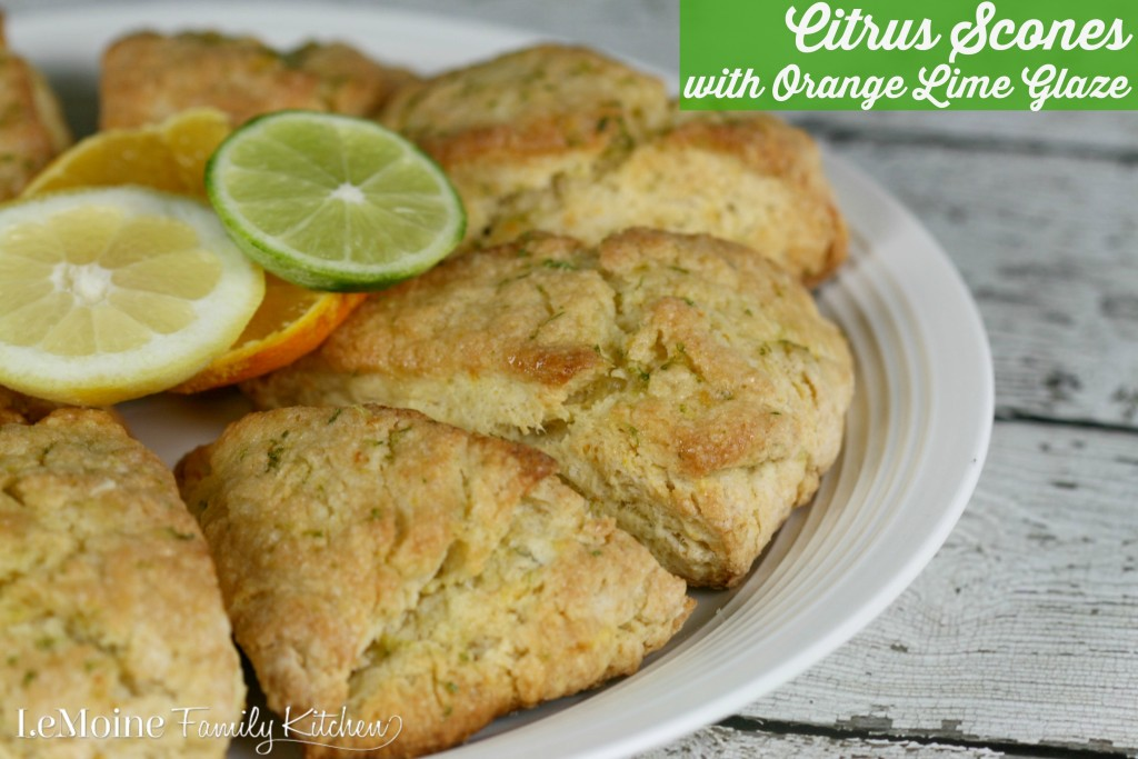 Citrus Scones with Orange Lime Glaze | LeMoine Family Kitchen . Perfect scones with bright hints of orange, lemon and lime zest. The scones are absolutely perfect and the glaze puts them over the top amazing!