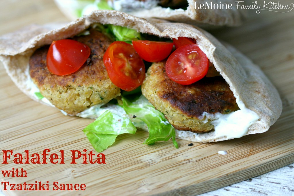 Falafel Pita with Tzatziki Sauce | LeMoine Family Kitchen... Delicious homemade chick pea fritters stuffed inside a pita with lettuce tomato and a delicious tzatziki sauce!