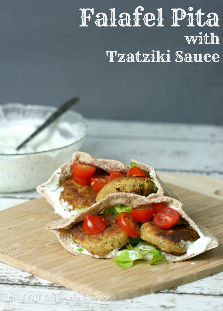 Falafal Pita with Tzatziki Sauce | LeMoine Family Kitchen... Delicious homemade chick pea fritters stuffed inside a pita with lettuce tomato and a delicious tzatziki sauce!