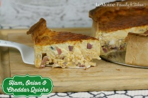 Ham, Onion & Cheddar Quiche | LeMoine Family Kitchen. Perfect fro breakfast, brunch, lunch or dinner!