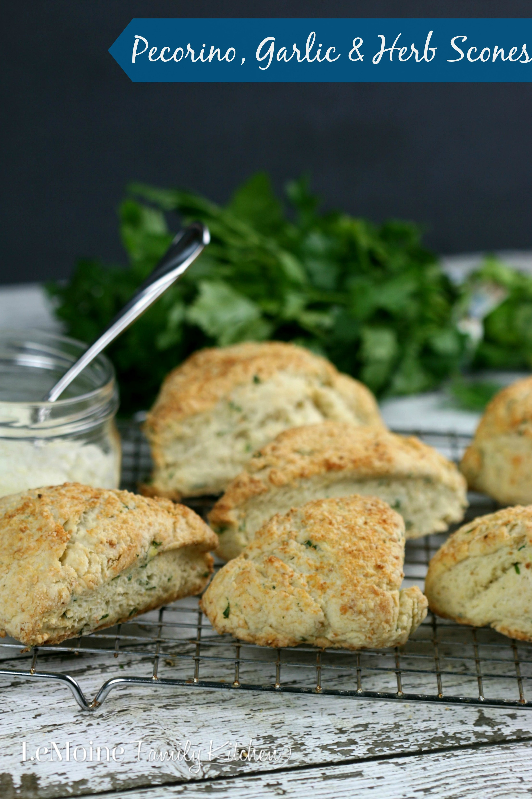 Pecorino, Garlic & Herb Scones | LeMoine Family Kitchen. Absolutely incredible savory scones with grated pecorino cheese, garlic and herb seasoning. Perfect texture and flavor!